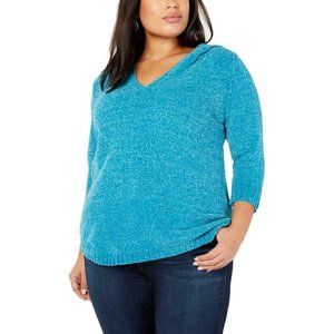 NY Collection Blue Chenille V-Neck Hooded Sweater